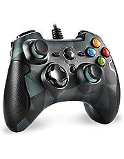 PS3-controller, EasySMX pc-bekabelde gamepad voor games met kabel met dubbele vibratie, turbo en knoppen aan de voorkant voor PS3 / Windows / Android TV, TV BOX