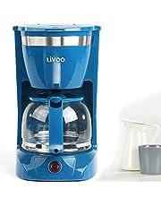 Kaffemaskin blå med glasburk för 12 koppar varmhållningsfunktion (kaffeautomatisk, kaffeöppning, automatisk avstängning, vattennivå indikering)