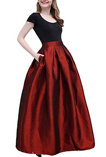 PROMLINK Women Long Taffeta Maxi Skirt A-line Party Dress with Pockets, -