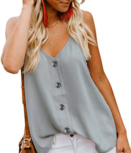 - Nashion Women's Casual Button Down V Neck Cami Tank Tops Sleeveless Blouses,Light Grey,L
