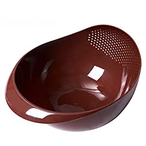 Kitchen Wash rice and filter rice washing sieve plastic drain basket of fruits and vegetables food basin,brown