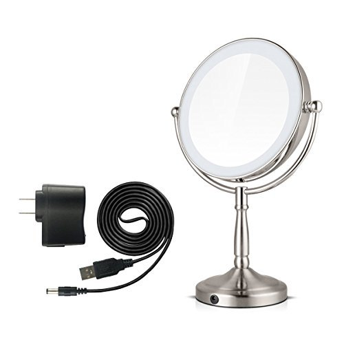 Traxandco Round LED Cosmetics Mirror Table Top Illuminated Makeup Mirror for Bathroom Vanity Cosmetics Silver (8 inch)