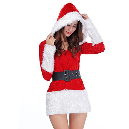 Mrs Costume Diy Claus (XILALU Ladies Sexy Santa Costume Women Mrs Christmas Party Fancy Dress Cosplay Suit (Red)