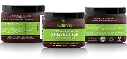 Organic Shea Butter By Sky Organics Unrefined Pure Raw Ivory Shea Butter 16oz Skin Nourishing Moisturizing Healing For Dry Skin Dusting Powders For Skin Care Hair Care DIY Recipes