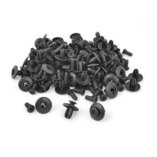 uxcell 100 Pcs Rivets Fastener Fender Bumper Push Screw Pin Clips 8mm Hole ()