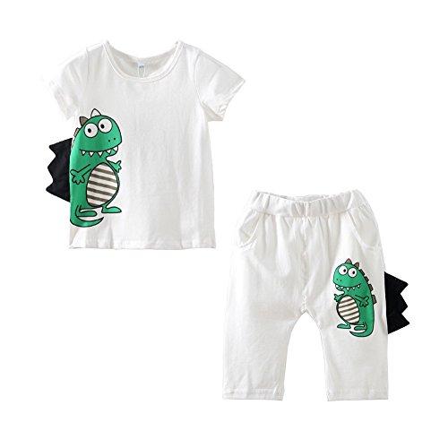 Mud Kingdom Boy's Crocodile Dinosaur T-shirt and Short Costume Outfit 4T White (Toddler Crocodile Costume)