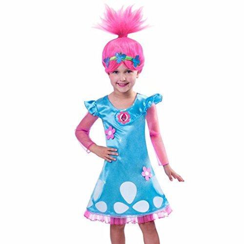 Girls Poppy Dress Troll Wig Set for Halloween Party Trolls Cosplay Costume]()