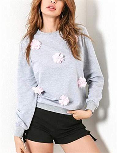 Tops Sweatshirts Autunno Grigio Moda Casual Baggy Ragazze Decorato Donna Maniche Felpe Lunghe Ragazze Collo Floreale Primaverile Top Eleganti A Rotondo Style Festa Camicia RnCqp