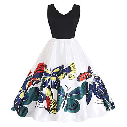 (Rakkiss Women Vintage Skirt Boatneck Elegant Exquisite Skirt Solid Print Splice Dress A-Line Sleeveless Fashion Dress)