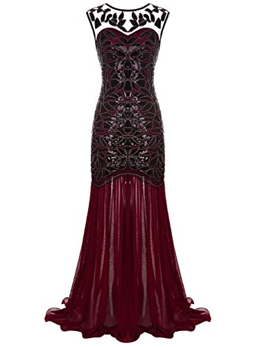 FAIRY COUPLE Women's Maxi Long 1920s Gatsby Dresses Sequined Embellished Prom Evening Dress S Burgundy