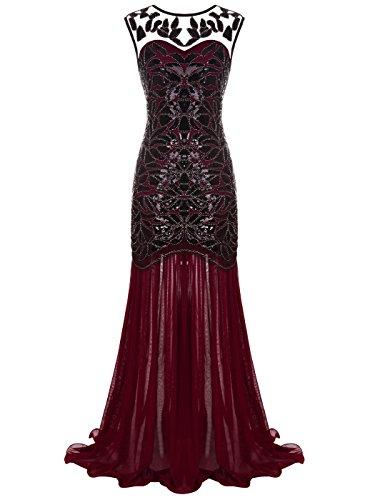 FAIRY COUPLE Women 's V Back 1920s Black Sequin Gatsby Floor-Length Formal Cocktail Gowns Dress M Burgundy