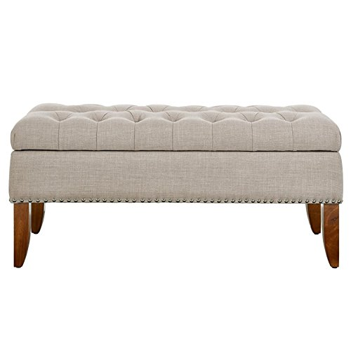 (Pulaski DS-D107003-619 Beige Hinged Top Button Tufted Storage Bed Bench Accent Seating, Brown)