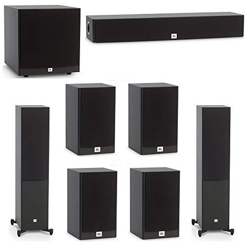 - JBL 7.1 System with 2 JBL Stage A180 Floorstanding Speakers, 1 JBL Stage A135C Center Speaker, 4 JBL Stage A120 Bookshelf Speakers, 1 JBL Stage A120P Subwoofer