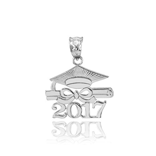 925 Sterling Silver Diploma & Cap Charm 2017 Graduation Charm Pendant (Charm Graduation Pendant)