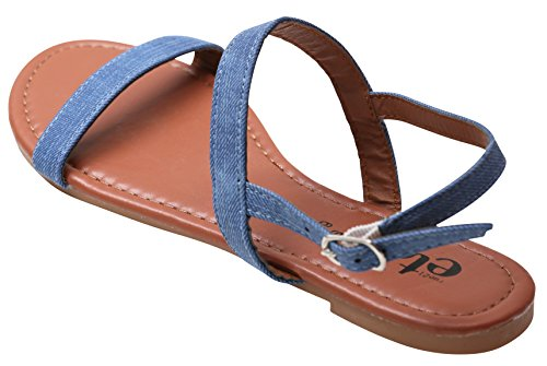 Comfortable Sandals For Summer Women Durable Denim And Double Strap Flat Ladies Shoes Blue wqAXfRx
