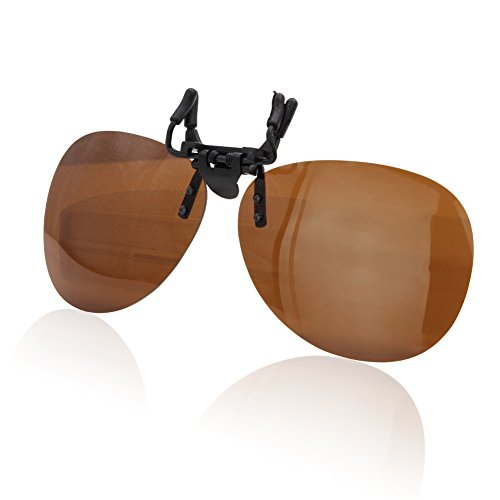 Duco Polarized Clip-on Sunglasses Flip-up Eyewear- Aviator Style Glasses - Polarized Lens for Men and Women 3603 (Brown - Sunglasses Flipup