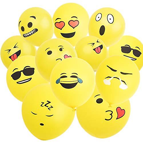 M MOOHAM Latex Balloons - 100 PCS Smile Face Yellow Color Emoji Balloons, 12 Inches Giant Latex Balloons, for Party, Birthday, Holiday Decoration ()