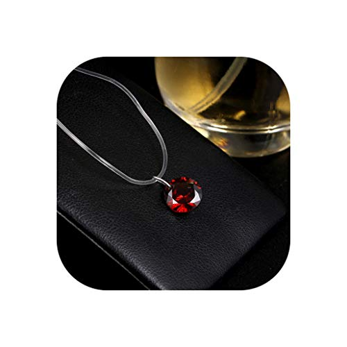 - 8 Colors Zircon Necklace and Invisible Transparent Fishing Line Simple Pendant Necklace Jewelry for Women Party Wedding Gift,G