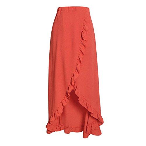 Price comparison product image JIANGTAOLANG Women White Irregular Long Skirt New Boho Chiffon Slit Wrap Maxi Beach Waist Skirts Red M