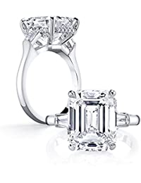 Emerald Cut Ring Baguette 3 Stones 4 Carat Cubic Zirconia CZ Engagement Sterling Silver Band Jewelry
