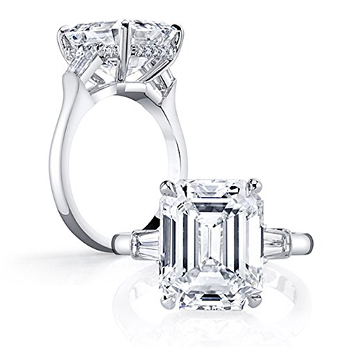 Baguette Silver Sterling Engagement Ring - Erllo Emerald Cut Ring Baguette 3 Stones 4 Carat Cubic Zirconia CZ Engagement Sterling Silver Band Jewelry Size 7.5
