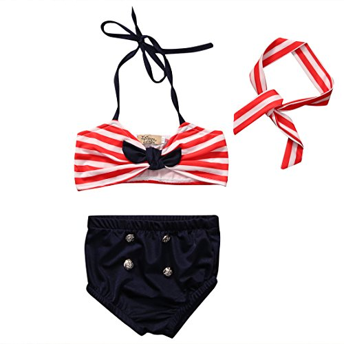 Baby Girls 3 Pcs Swimwear Striped Halter Bow Top+Bottom+Headband Swimsuit (3-4T, Deep Blue) (3t Bikini Bottom)