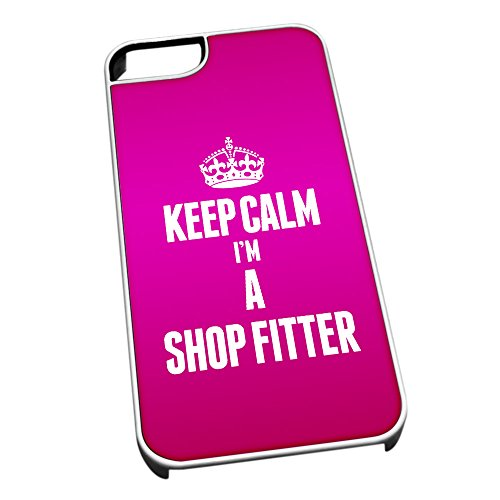 Bianco cover per iPhone 5/5S 2676 rosa Keep Calm I m A Shop Fitter
