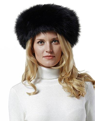 - Nice Glory Women's Finnish Fox Fur Headband / Collar Black