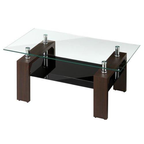センターテーブル 応接テーブル リビングテーブル ソファーテーブル ローテーブル 〔幅90cm〕 ダークブラウン B072LC827R