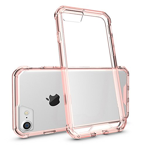 AICOO iPhone 7 Plus/iPhone 8 Plus Case, Slim Transparent Crystal Acrylic Shock Resistant Camera Protection Air Hybrid Clear Phone Case Cover for iPhone 7 Plus/iPhone 8 Plus 5.5 inch,Pink/Clear