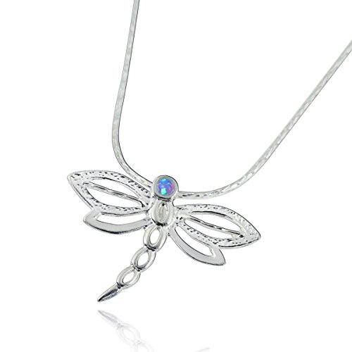(Dragonfly Pendant 925 Sterling Silver Necklace with Created Blue Fire Opal, 18