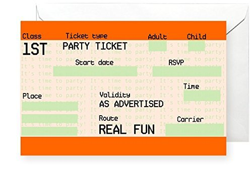 20 x GLOSSY London TICKET Party Invitations with 20 x Envelopes for adult All-Ways Design
