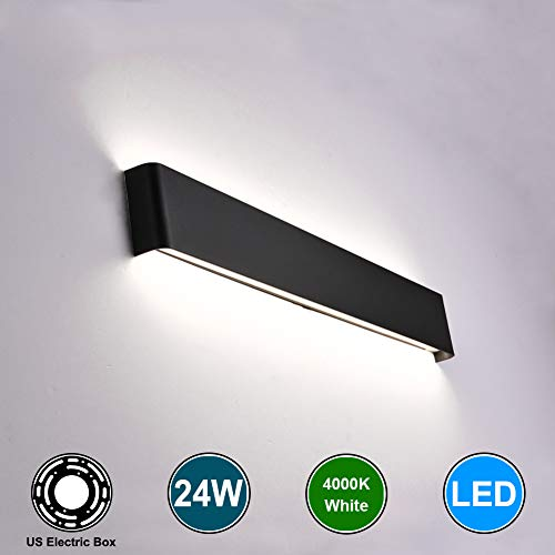 Aipsun 24W / 27.9in Rectangular LED Matte Wall Mount Sconce Modern Up and Down Wall Lamp for Indoor Vanity Bar Light Pathway Staircase Bedroom Corridor Living Room Home Lighting Fixtures (Black,White)