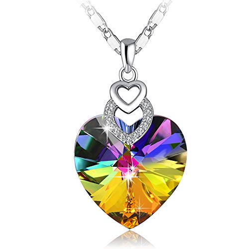 - PLATO H Brave Heart Rainbow Color Pendant Necklace with Swarovski Crystal Rainbow Heart Necklace, Heart Shape Necklace, Woman Girls Fashion Pendant Necklace, Rainbow Jewelry Necklace Gifts for Woman