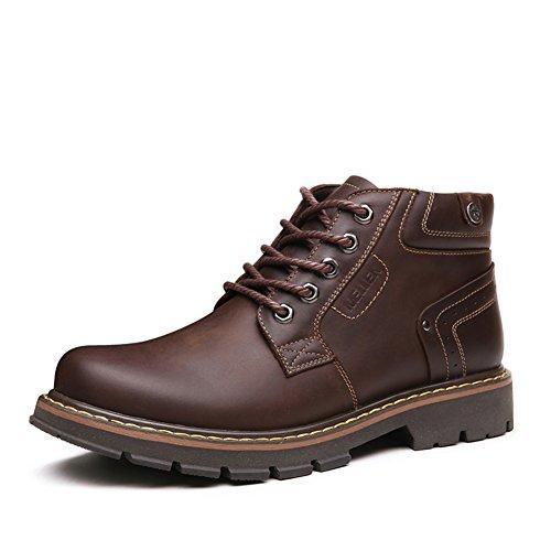 Mens Leder Freizeit Sehnen Schuhe Dress Herbst Und Winter Business Halten Sie Warm Dick Rutschen Schwarzbraun Braun
