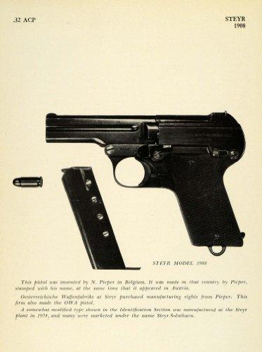 1948 Print 1908 .32 ACP Steyr Handgun Colt Automatic Pistol Cartridge Firearm - Original Halftone Print