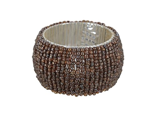 Brown Napkin Ring - ShalinIndia Handmade Beaded Napkin Rings Set With 4 Brown Glass Beaded Napkin Holders - 1.5 Inch in Size