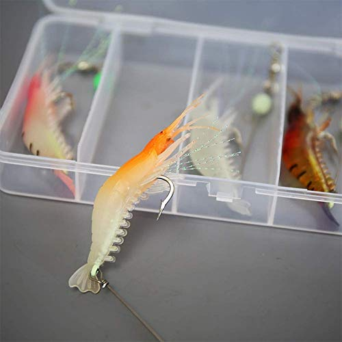 Amoygoog Saltwater Fishing Lures Shrimp bass Lures Shrimp Baits, Fishing Shrimp Lure Silicone Enticement Set(5pcs) with Hooks for Freshwater and Saltwater