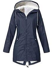 Darringls Regenjas voor dames, lange winterjas, dikke lange jas, aangenaam donsjas, warm, functionele jas, duurzame kunstleren jas, grote maten, jas, bescherming tegen kou