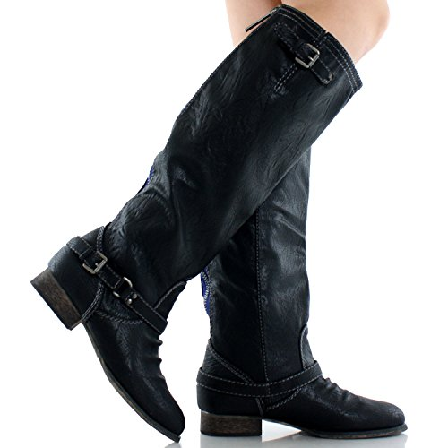 Breckelles Outlaw-81 Women Casual Boots, Black/Outlaw-11, 7 M US