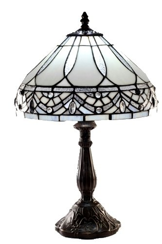 Warehouse of Tiffany 1150+MB06S GG Tiffany-style White Jewels Table Lamp, White by Warehouse of Tiffany