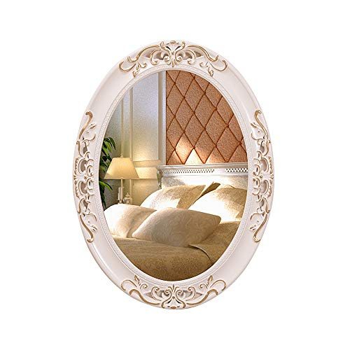 Wall-Mounted Retro Bathroom Mirror,Ivory White Wooden Frame, Antique Princess Decor for Bedroom,Bathroom, Living Room,Playroom,Dressers ,2 (Size : 60x80cm)