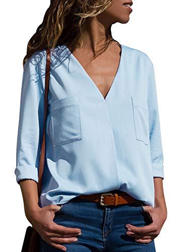 light blue button blouse - 1