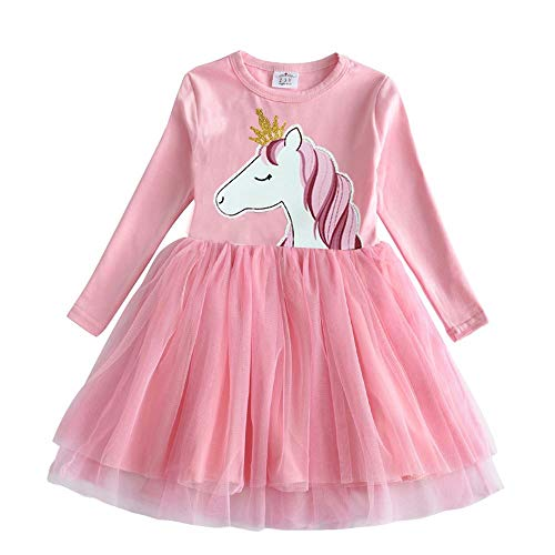 VIKITA Toddler Girl Long Sleeve Princess Pony Horse Dress Baby Girls Winter Birthday Dresses Great Gift (5T, LH4576)