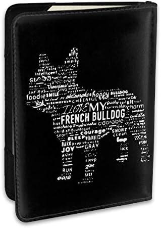 French Bulldog フレンチブルドッグ パスポートケース メンズ レディース パスポートカバー パスポートバッグ ポーチ 6.5インチ PUレザー スキミング防止 安全な海外旅行用 収納ポケット 名刺 クレジットカード 航空券