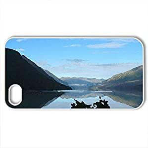Alaska mountain and lake view - Case Cover for iPhone 4 and 4s (Mountains Series, Watercolor style, White)
