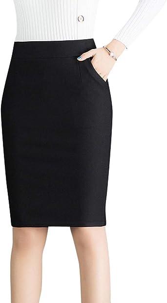 Quge Señoras Alta Cintura Faldas Tubo para Mujer Ajustado Bodycon ...