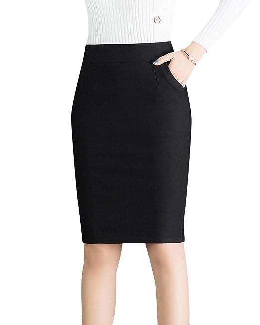 445692c518b Quge Señoras Alta Cintura Faldas Tubo para Mujer Ajustado Bodycon Lápiz  Midi Falda  Amazon.es  Ropa y accesorios
