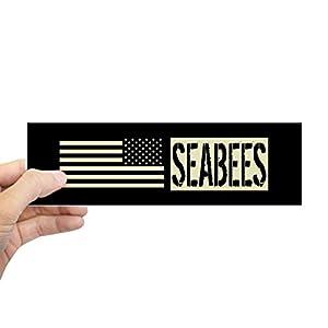 CafePress U.S. Navy: Seabees (Black Flag) Bumper Sticker from CafePress