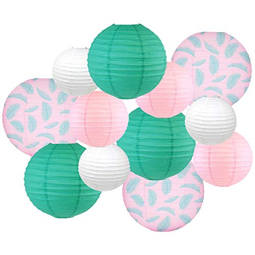 (Just Artifacts Decorative Round Chinese Paper Lanterns - Designs by Just Artifacts, Paradise Collection (12pcs, Palm)